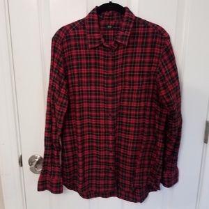 Uniqlo cotton flannel button down red plaid shirt
